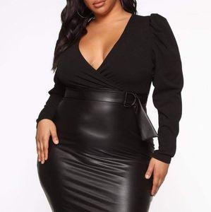 Fashion Nova Black Midi Dress
